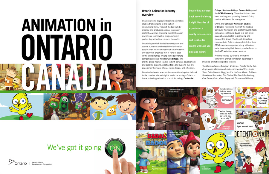 Animation in Ontario brochure featuring Giant Step's ComicReply platform